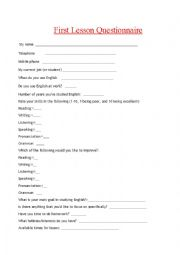 English Worksheets: Needs Analysis Questionnaire