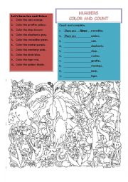 English Worksheet: Numbers, Color and Count