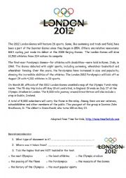 English Worksheet: The London Olympic Games