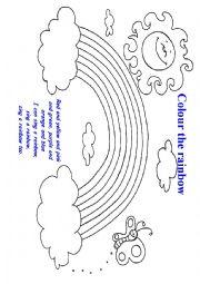 English Worksheet: sing a rainbow song