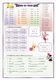 English Worksheet: Have or has got (2 pages, 5 exercises)
