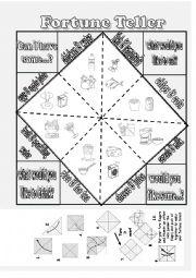 English Worksheet: food fortune teller