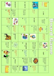 English Worksheet: board game: modals, school subjects