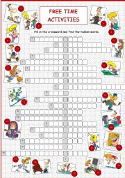 English Worksheets: Free Time Activities (Crossword)