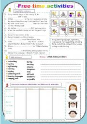 English Worksheets: Free time activities (in three pages)+pictures