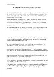 English Worksheets: Avoiding fragments