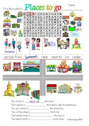 English Worksheets: Places to go: colour and grayscale