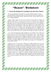 English Worksheet: Names - Short Story Worksheet