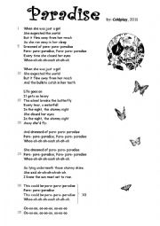 English Worksheet: Paradise by Coldplay  (with exercises)