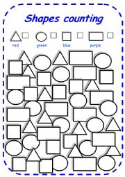 English Worksheet: shapes counting