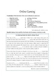English Worksheet: Brainstorming (Online Gaming)