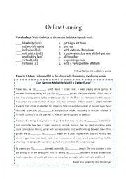 English Worksheet: Brainstorming (Online Gaming)