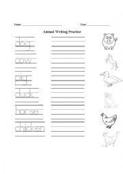 Farm Animal Handwriting Practice and Matching