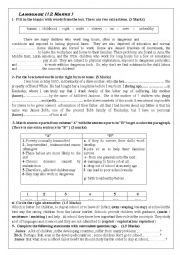 English Worksheet: test for 2nd form