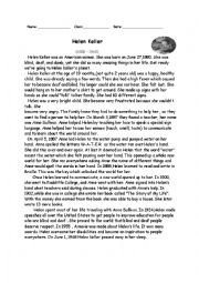 worksheet: Biography of Helen Keller