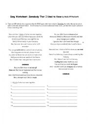 English Worksheet: Somebody that I used to know - subject verb agreement
