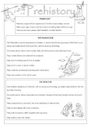 English Worksheet: Prehistory: The Palaeolithic & The Neolithic