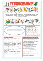 English Worksheet: TV Programmes (Vocabulary Exercises)