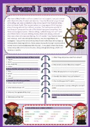English Worksheet: I dreamt I was a pirate