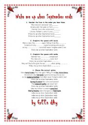 English Worksheets: Song Wake me up when September ends by Green Day
