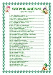 English Worksheet: Verb to be: 35 questions.