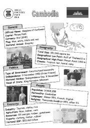 English Worksheet: ASEAN nations fact file - Cambodia