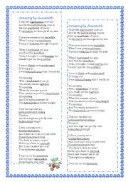 English Worksheet: Song Amazing by Aerosmith