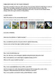 English Worksheet: Save the planet webquest