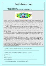 English worksheet: comprehensive exam