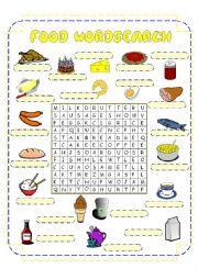 English worksheets: Food Crossword