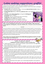 English Worksheet: letter making suggestions - offering solutions  (Problem: graffiti)