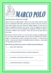 English Worksheet: Do you know who bring the Spaghettis from China.? MARCO POLO.