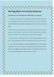 English Worksheets: Writing Skells: Irrelevant Sentence