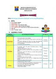 English Worksheets: Ask and give information about past events using WH questions