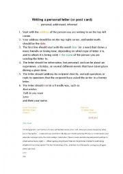 English Worksheet: How to write a personal letter