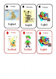 English Worksheet: Countries and Nationalities Card Game 1 England Scotland
