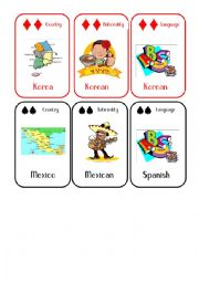 English Worksheet: Countries and Nationalities Card Game 3 Korea Mexico