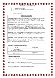English Worksheets: Reading comprehension festivities