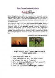 English Worksheets: Wild Things Safaris