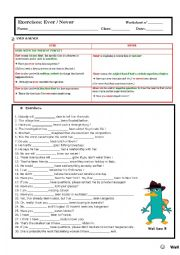 English Worksheet: ever and never