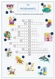 English Worksheets: TV Programmes (Crossword)
