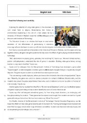 English Worksheet: Video games in the classroom