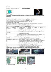 English Worksheet: Save our planet - Module 5, Lesson 4, 8th grade