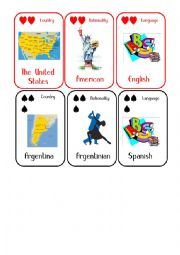 English Worksheet: Countries and Nationalities Card Game 4 USA Argentina