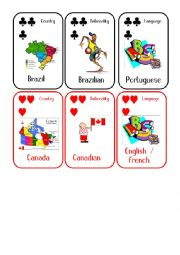 English Worksheet: Countries and Nationalities Card Game 5 Brazil Canada