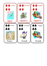English Worksheet: Countries and Nationalities Card Game 6 Japan France