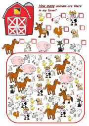 English Worksheets: how many animals in my farm?