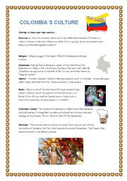 English Worksheets: Colombia`s Culture