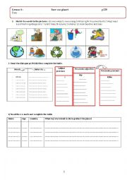 English Worksheets: lesson 4: save our planet
