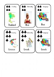 English Worksheet: Countries and Nationalities Card Game 7 Thailand Greece